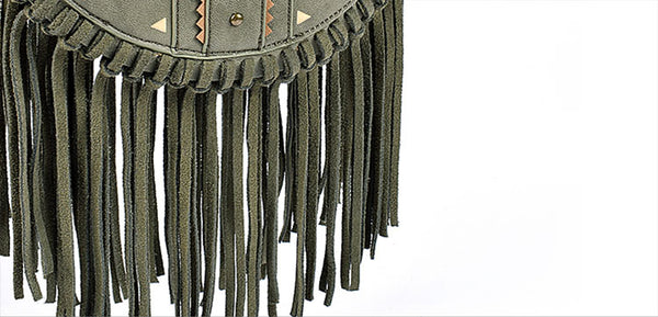 Small Womens Boho Vegan Leather Fringe Circle Crossbody Bag Purse for Women Funky