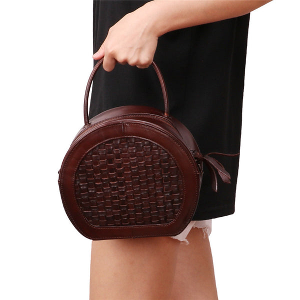 Small Womens Braided Leather Circle Handbag Cross Shoulder Round Bag Purse for Women Inside