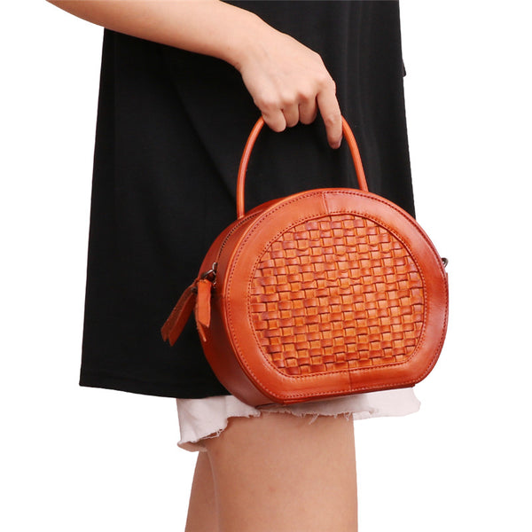 Small Womens Braided Leather Circle Handbag Cross Shoulder Round Bag Purse for Women Online