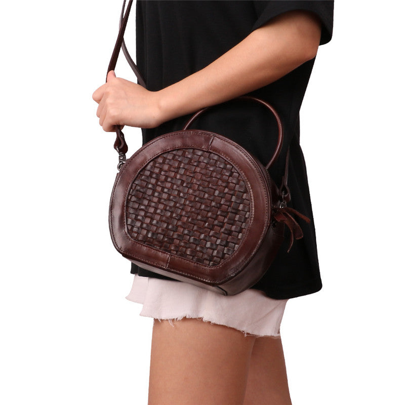 Small Womens Braided Leather Circle Handbag Cross Shoulder Round Bag Purse for Women Original