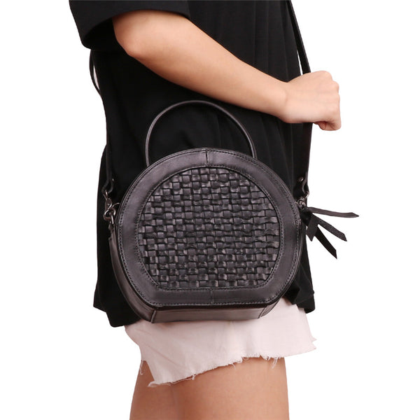 Small Womens Braided Leather Circle Handbag Cross Shoulder Round Bag Purse for Women Quality