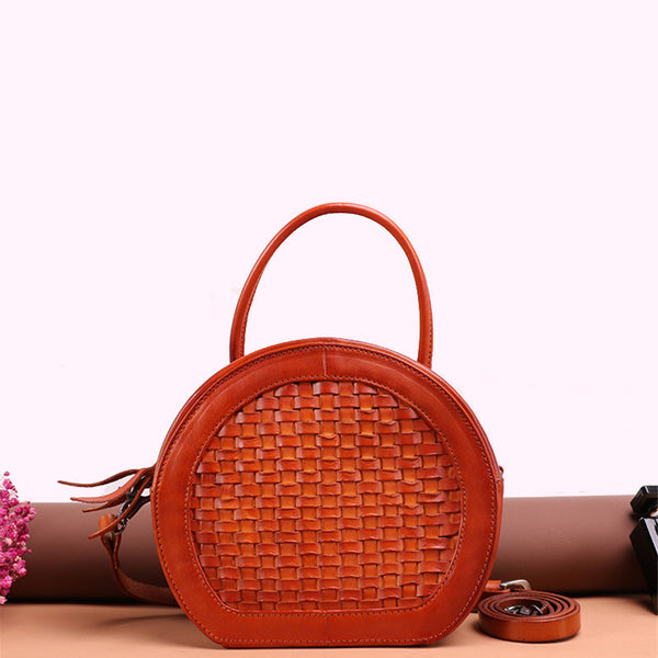 Small Womens Braided Leather Circle Handbag Cross Shoulder Round Bag Purse for Women Small