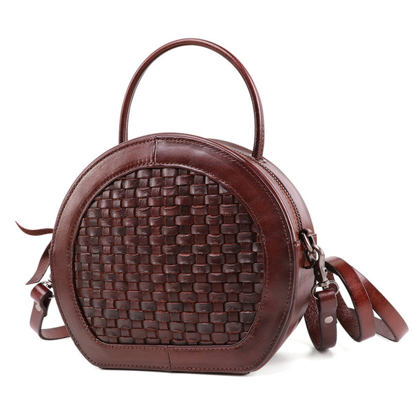 Small Womens Braided Leather Circle Handbag Cross Shoulder Round Bag Purse for Women Stylish