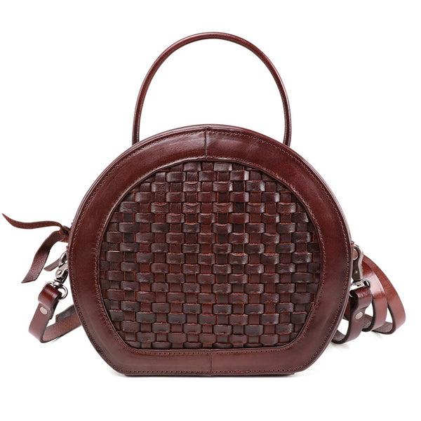 Small Womens Braided Leather Circle Handbag Cross Shoulder Round Bag Purse for Women Side