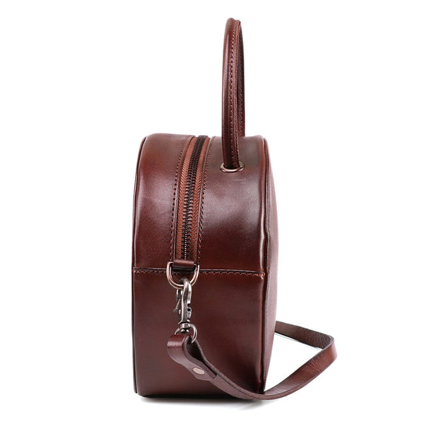 Small Womens Braided Leather Circle Handbag