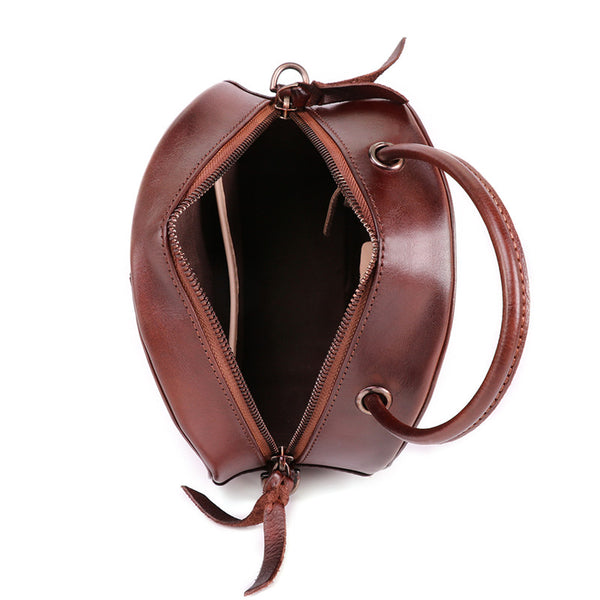 Small Womens Braided Leather Circle Handbag Cross Shoulder Round Bag