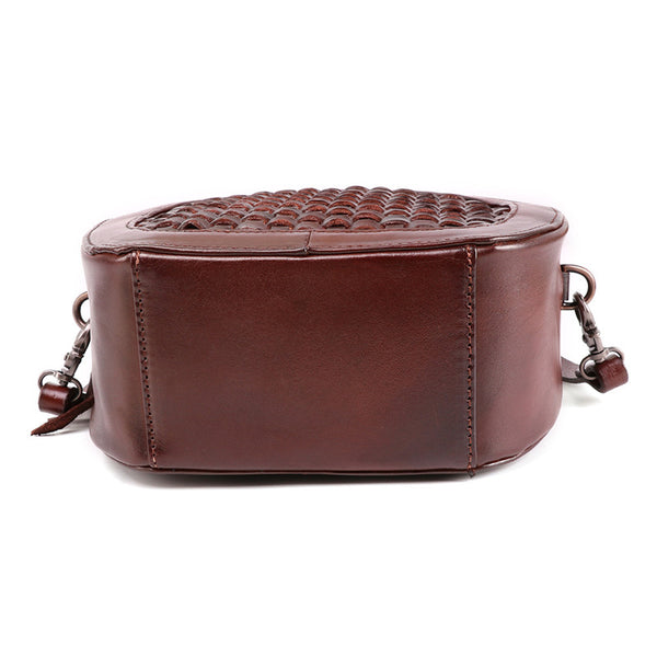 Small Womens Braided Leather Circle Handbag Cross Shoulder Round Bag Purse