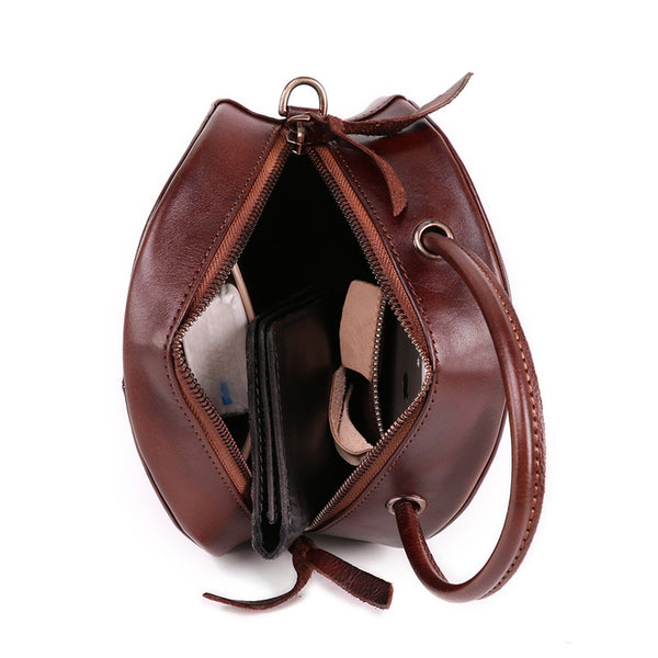 Small Womens Braided Leather Circle Handbag Cross Shoulder Round Bag Purse for Women