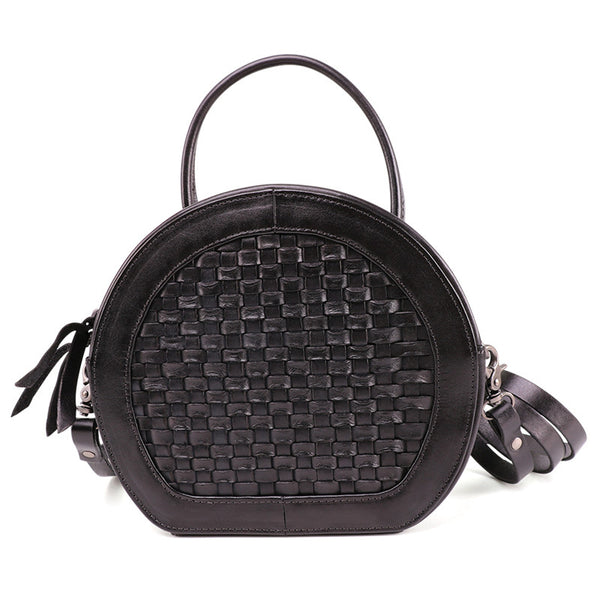 Small Womens Braided Leather Circle Handbag Cross Shoulder Round Bag Purse for Women Affordable