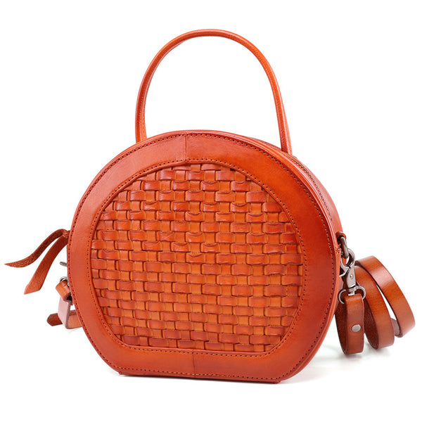 Small Womens Braided Leather Circle Handbag Cross Shoulder Round Bag Purse for Women Brown