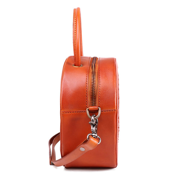 Small Womens Braided Leather Circle Handbag Cross Shoulder Round Bag Purse for Women Cool