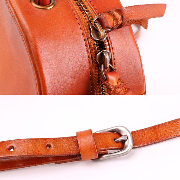 Small Womens Braided Leather Circle Handbag Cross Shoulder Round Bag Purse for Women Details