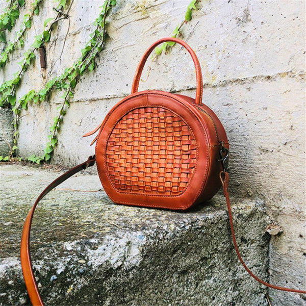 Handmade Womens Braided Round Leather Cross Shoulder Bag Side Bag for Womens