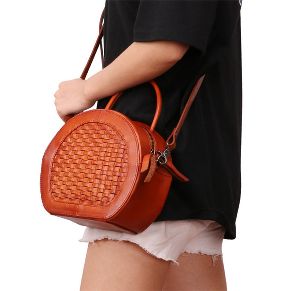 Small Womens Braided Leather Circle Handbag Cross Shoulder Round Bag Purse for Women Durable