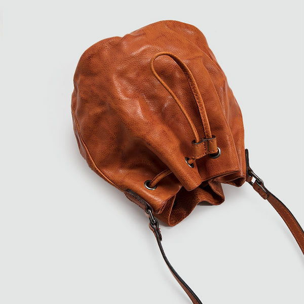 Small Womens Brown Leather Bucket Bag Purse Over The Shoulder Bags for Women Designer