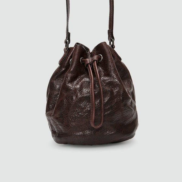 Small Womens Brown Leather Bucket Bag Purse Over The Shoulder Bags for Women Details