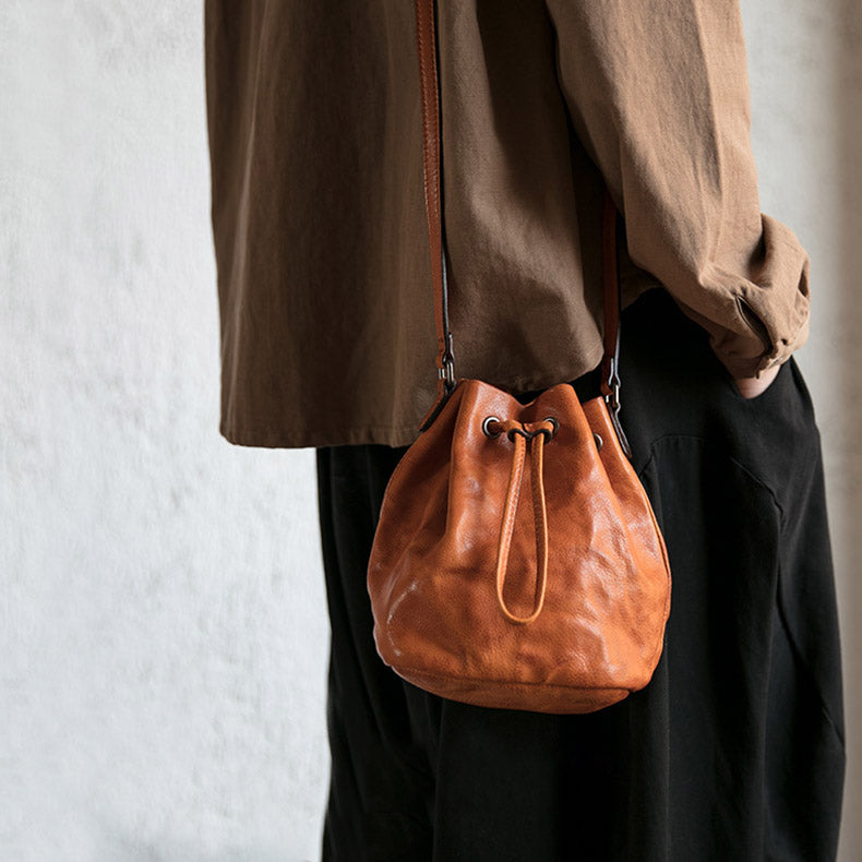 3c95345201c2 Small Womens Brown Leather Bucket Bag Purse Over The Shoulder Bags ...