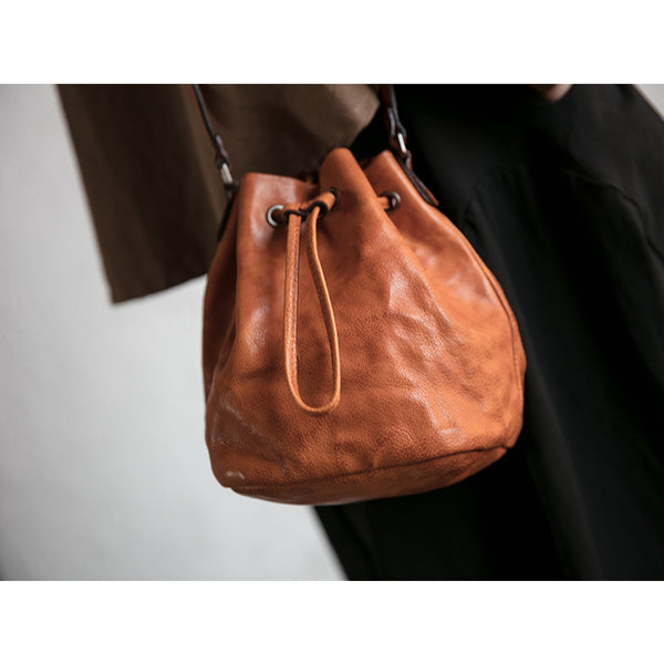 Small Womens Brown Leather Bucket Bag Purse Over The Shoulder Bags for Women beautiful