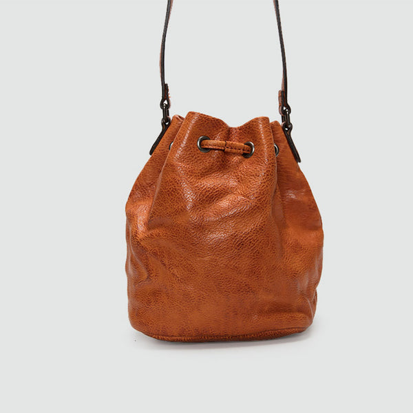 Small Womens Brown Leather Bucket Bag Purse Over The Shoulder Bags for Women cool