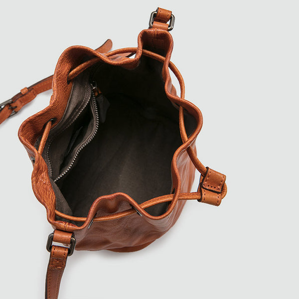 Small Womens Brown Leather Bucket Bag Purse Over The Shoulder Bags for Women gift