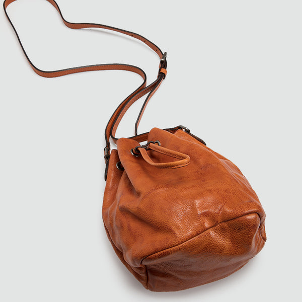 Small Womens Brown Leather Bucket Bag Purse Over The Shoulder Bags for Women