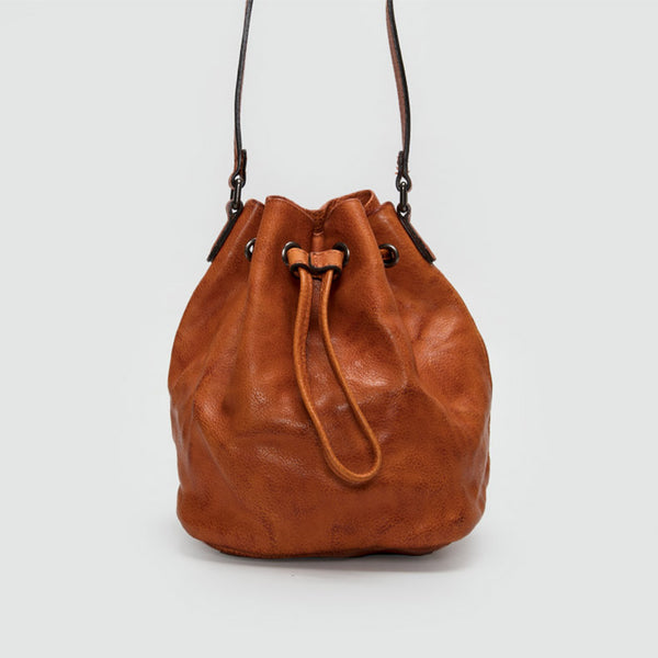 Small Womens Brown Leather Bucket Bag Purse Over The Shoulder Bag