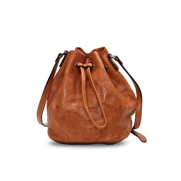 Small Womens Brown Leather Bucket Bag