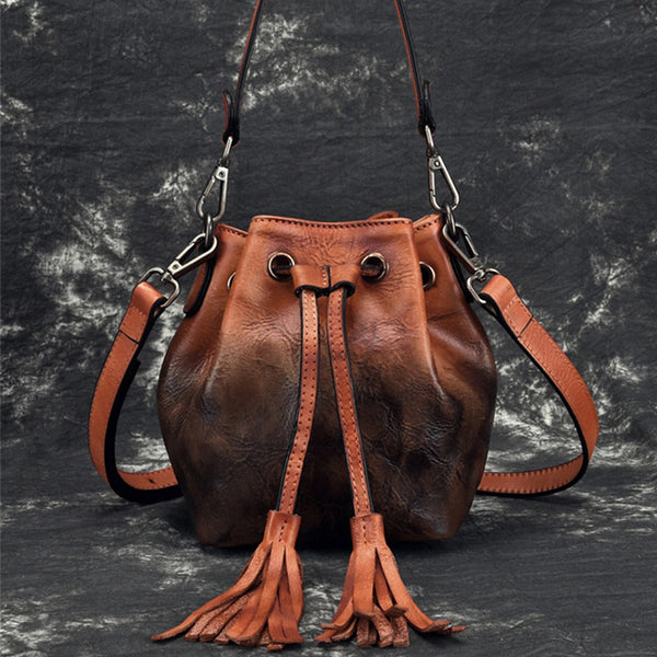 Small Womens Brown Leather Bucket Handbags Purse With Fringe Shoulder Bag