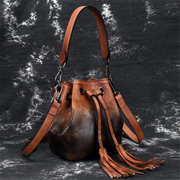 Small Womens Brown Leather Bucket Handbags Purse With Fringe Shoulder Bag for Women