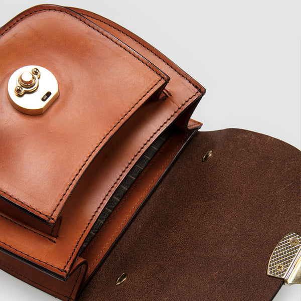 Small Womens Brown Leather Crossbody Bags Purse Over the Shoulder Bags for Women Boutique