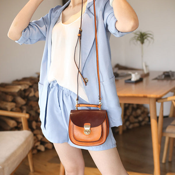 Small Womens Brown Leather Crossbody Bags Purse Over the Shoulder Bags for Women Designer