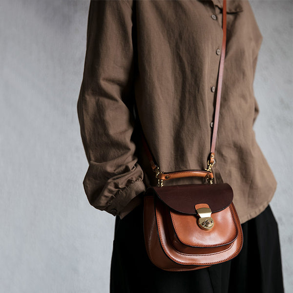 Small Womens Brown Leather Crossbody Bags Purse Over the Shoulder Bags for Women cool