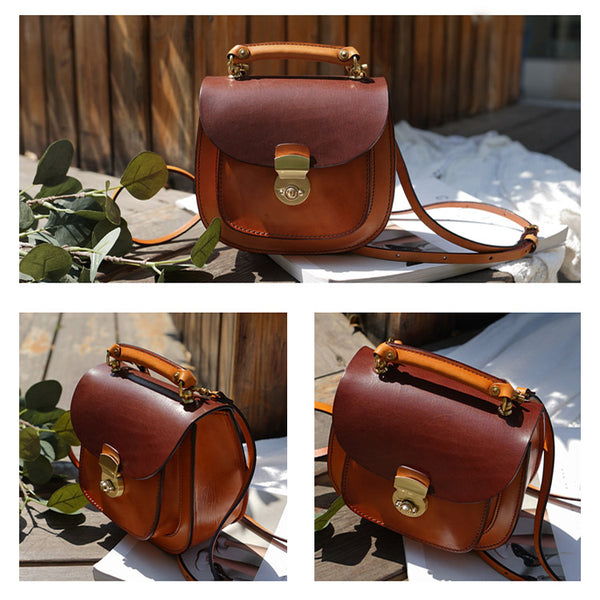 Small Womens Brown Leather Crossbody Bags Purse Over the Shoulder Bags for Women small