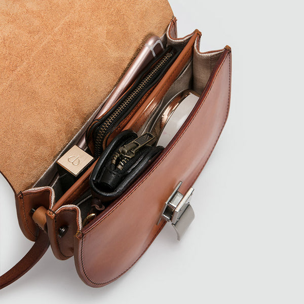 Small Womens Brown Leather Crossbody Saddle Bag Purse Side Bag for Women best