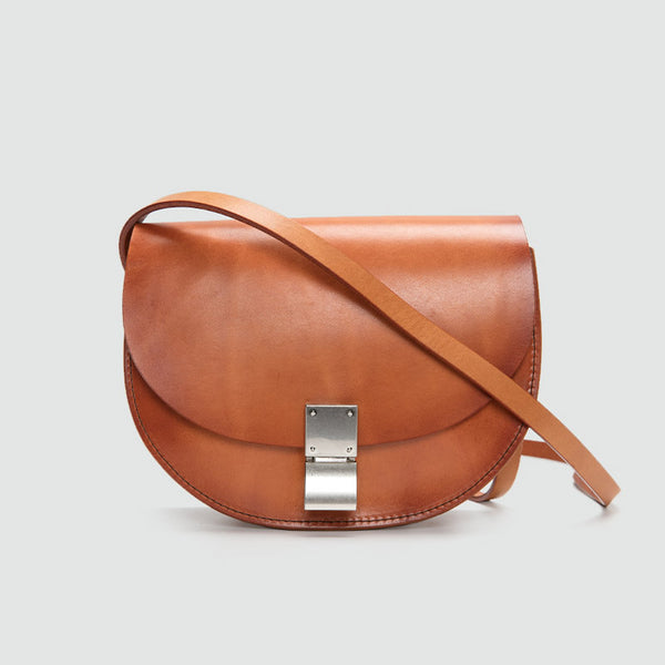 Small Womens Brown Leather Crossbody Saddle Bag