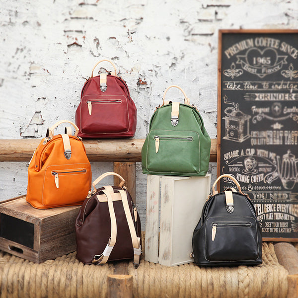 Small Womens Brown Leather Doctor Bag Backpack Purse Cute Designer Backpacks for Women Beautiful