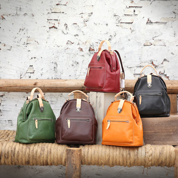 Small Womens Brown Leather Doctor Bag Backpack Purse Cute Designer Backpacks for Women Best