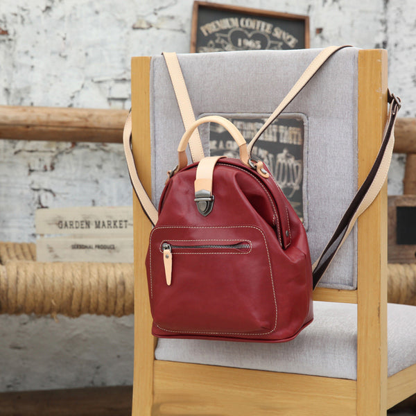 Small Womens Brown Leather Doctor Bag Backpack Purse Cute Designer Backpacks for Women Chic