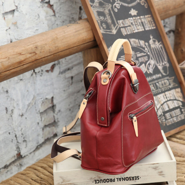 Small Womens Brown Leather Doctor Bag Backpack Purse Cute Designer Backpacks for Women Cowhide