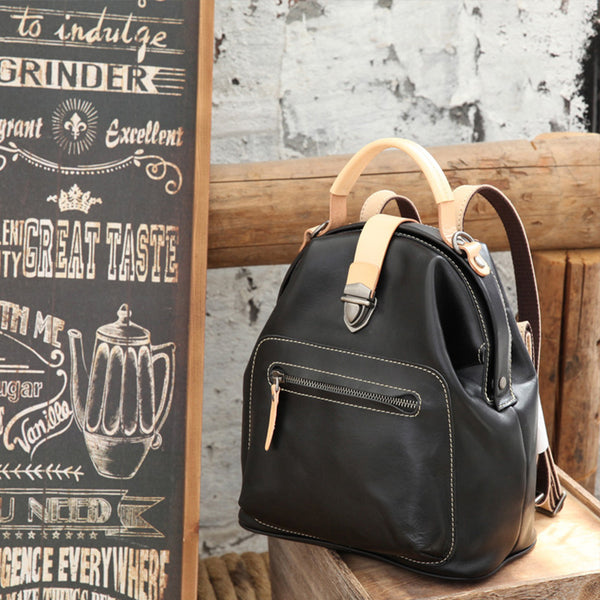 Small Womens Brown Leather Doctor Bag Backpack Purse Cute Designer Backpacks for Women Cute
