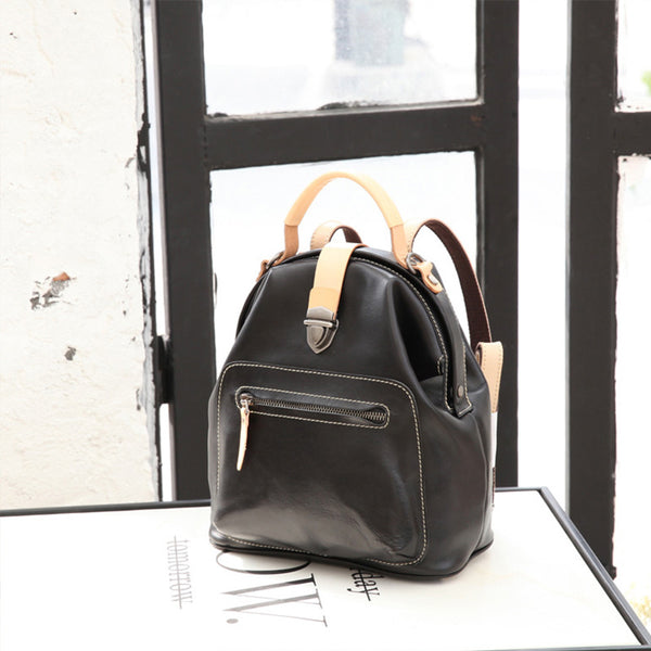 Small Womens Brown Leather Doctor Bag Backpack Purse Cute Designer Backpacks for Women Details