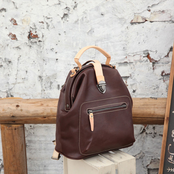 Small Womens Brown Leather Doctor Bag Backpack Purse Cute Designer Backpacks for Women Fashion