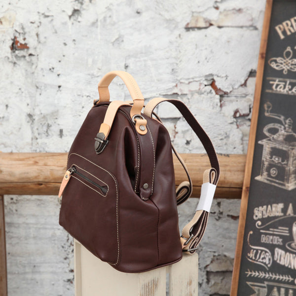 Small Womens Brown Leather Doctor Bag Backpack Purse Cute Designer Backpacks for Women Funky