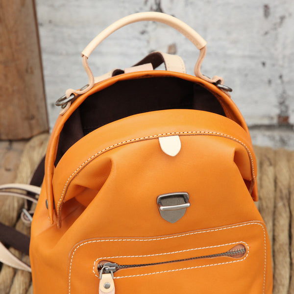 Small Womens Brown Leather Doctor Bag Backpack Purse Cute Designer Backpacks for Women Inside