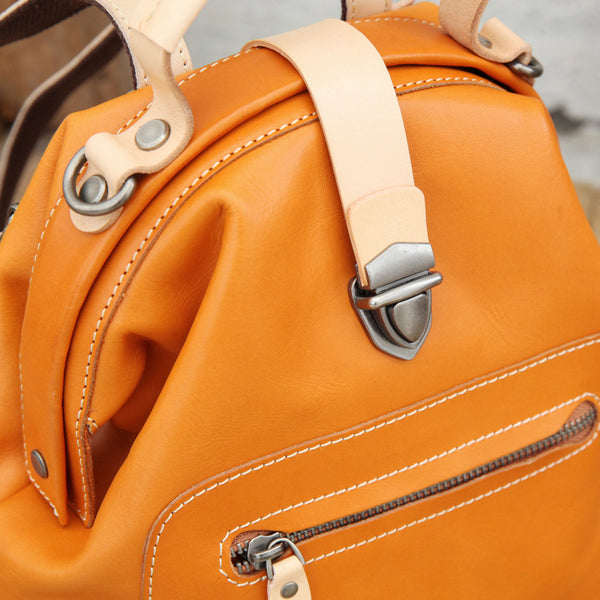 Small Womens Brown Leather Doctor Bag Backpack Purse Cute Designer Backpacks for Women