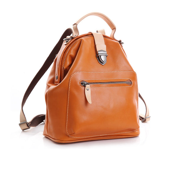 Small Womens Brown Leather Doctor Bag Backpack Purse