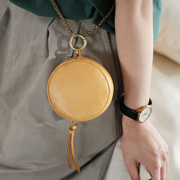 Small Womens Chain Leather Circle Wallet Zip Coin Purse Crossbody Bag for Women Accessories