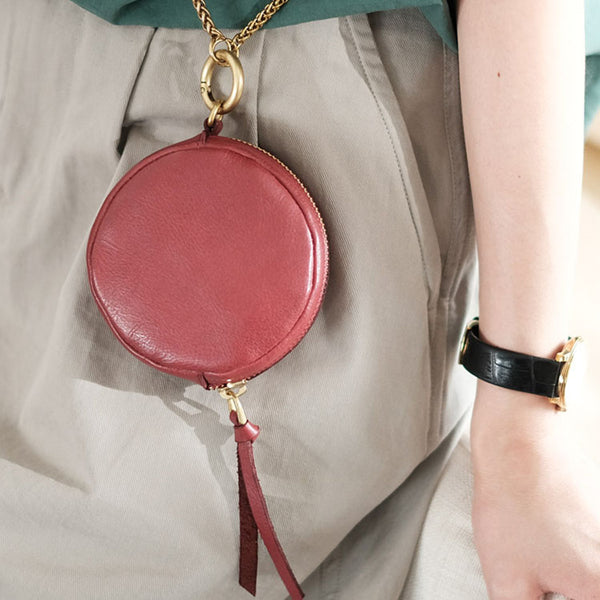 Small Womens Chain Leather Circle Wallet Zip Coin Purse Crossbody Bag for Women Cute