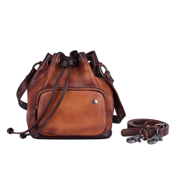 Small Womens Genuine Leather Drawstring Bucket Bag Crossbody Purse For Women Accessories
