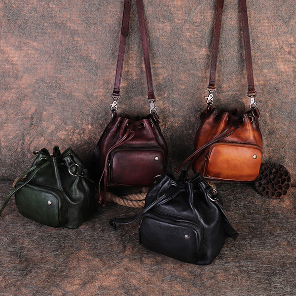 Small Womens Genuine Leather Drawstring Bucket Bag Crossbody Purse For Women Best